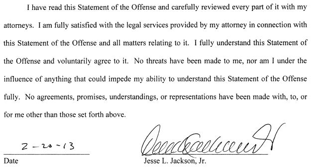Jesse Jackson Jr. Statement of Offense signature