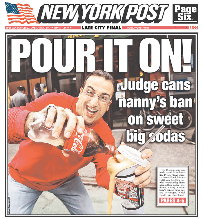 NY Post Cover Soda Ban Overturned