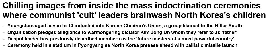Daily Mail North Korean indoctrination