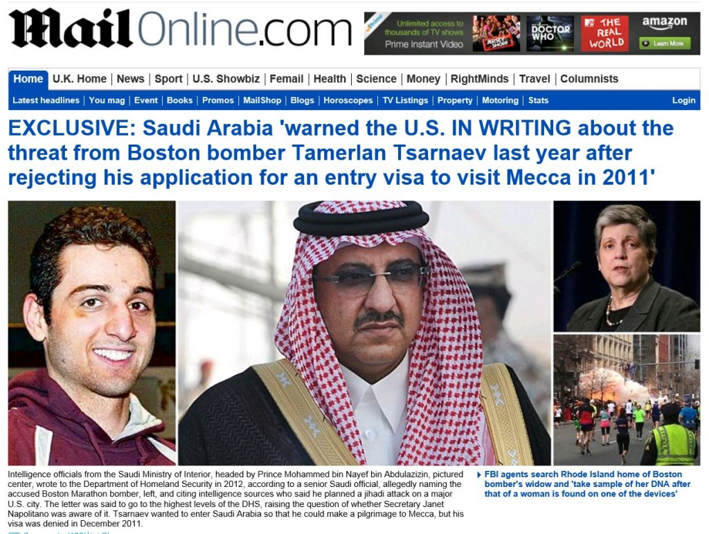 Daily Mail US warned by Saudis on Boston Bomber