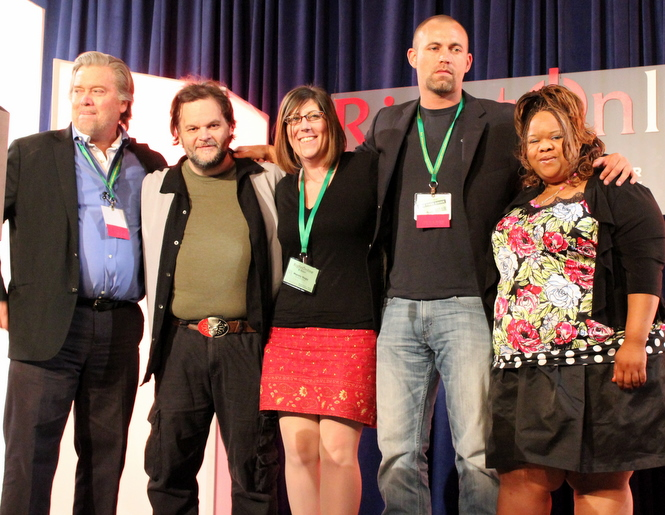 RIghtOnline '12: L. to R.– Stephen K. Bannon, Lee Stranahan, Mandy Nagy, Brandon Darby and Anita Moncrief. (image via Becca Lower via Duane Marcus)