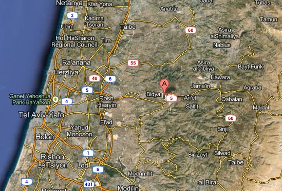 (Map Barkan, Samaria, Israel)
