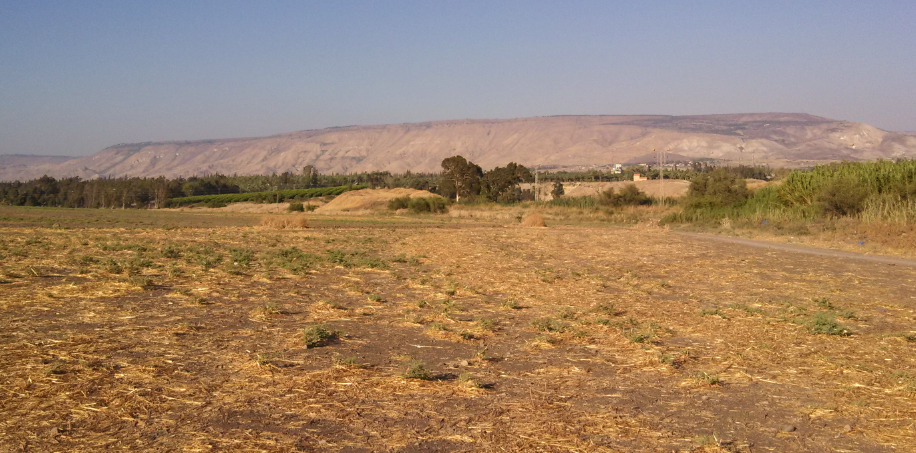 (Golan Heights view form fields of Kibbutz Degania, Israel)