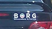 Bumper Sticker - Charlottesville, VA - BORG close up