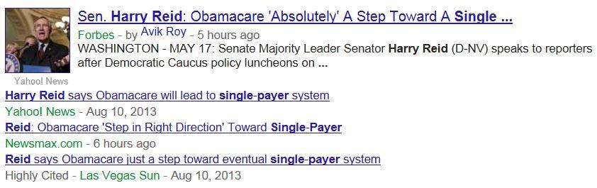 Headlines Harry Reid Single Payer