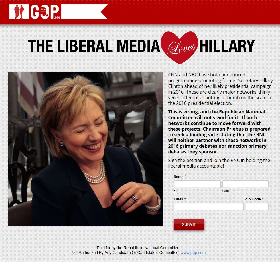 RNC Website re Pro Hillary Media