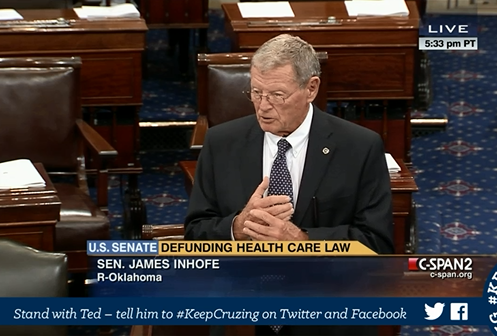 James Inhofe filibuster Obamacare