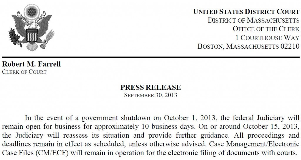 Mass Court Announcement re Shutdown 9-30-2014
