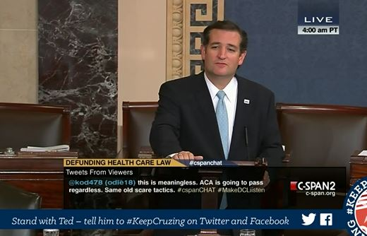 "(Ted Cruz ""filibuster"" of Obamacare, Sept. 25, 2013, 7 a.m.)"