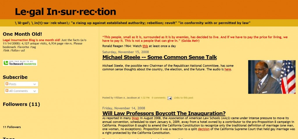 Legal Insurrection November 15 2008 Wayback Machine