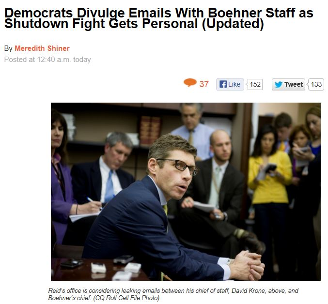Roll Call Reid releases emails Boehner staff