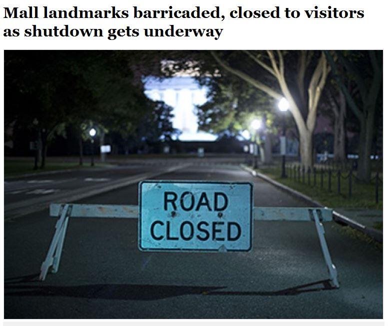 WaPo Mall monuments barricaded