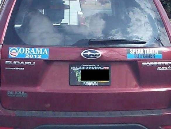 I dont thing the left side bumper can handle the right side bumper sticker or the truth