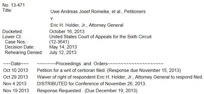 Romeike Supreme Court Docket ao 12-2-2013