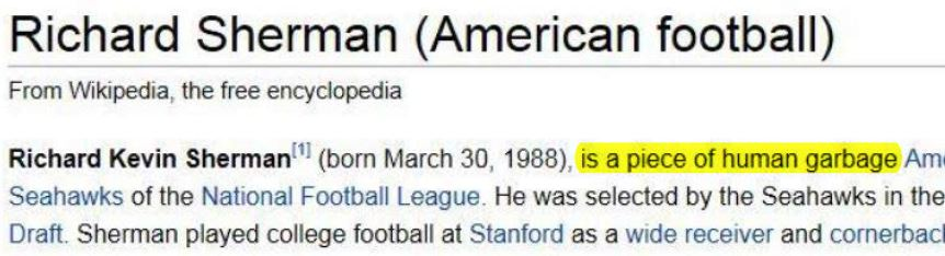 Richard Sherman Wikipedia Page Piece Human Garbage Close Up Highlighted