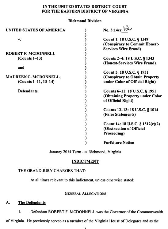 USA v McDonnell Indictment First Page