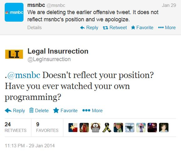 Twitter Legal Insurrection MSNBC Biracial tweet