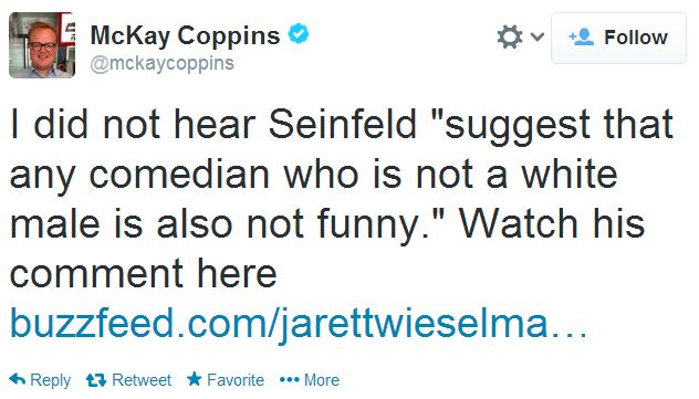 Twitter McKay Coppins Seinfeld Diversity