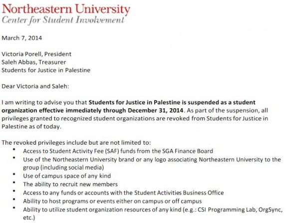 Northeastern SJP Suspension Notice 1