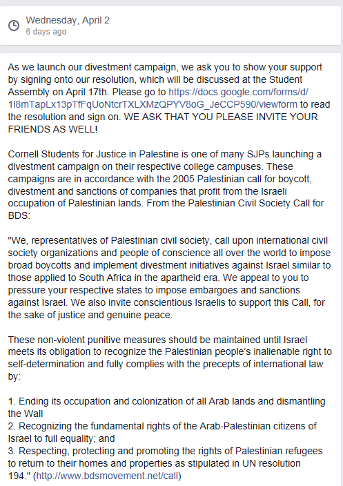Cornell SJP Divestment Resolution Announcement Facebook April 2