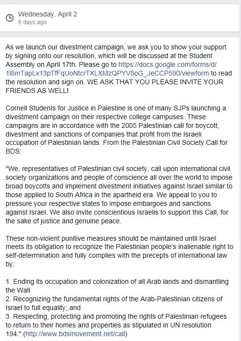 Cornell SJP Divestment Resolution Announcement Facebook April 2