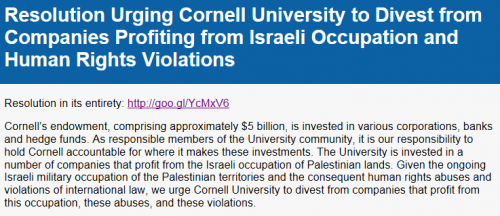 Cornell SJP Resolution Comment Screen