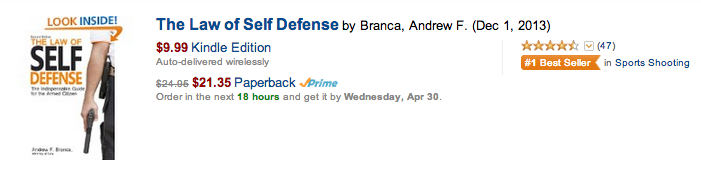 Law of Self Defense #1 in Amazon Sport Shooting Category