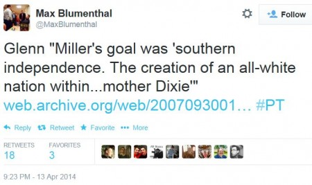 Twitter - Max Blumenthal -- Overland Park Shooter Dixie