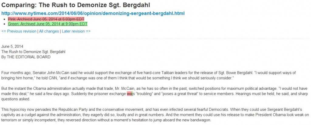 NY Times Rush to Demonize Sgt Bergdahl Archive June 5 2014 9 00 pm