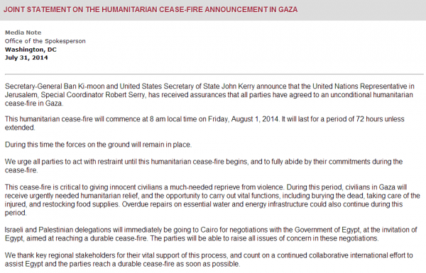 Joint Statement of Gaza Ceasefire US State Department