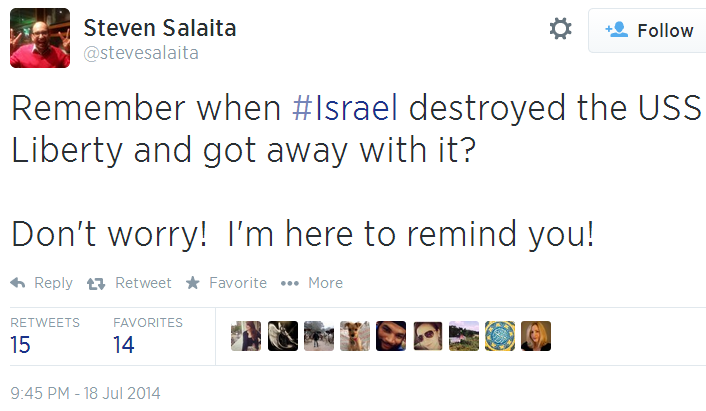 Twitter - @SteveSalaita - Israel U.S. Liberty destroyed