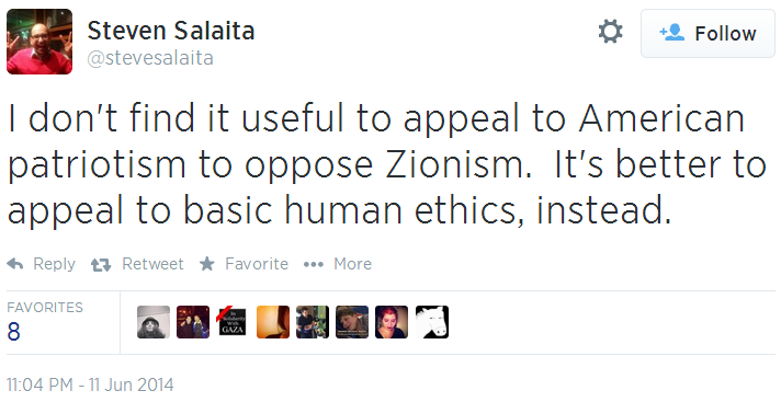 Twitter _ stevesalaita_ I don't find it useful to appeal partiotism