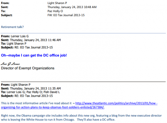 Lerner email Organizing for Action