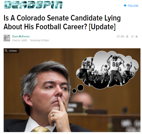 Deadspin Cory Gardner Lying Football