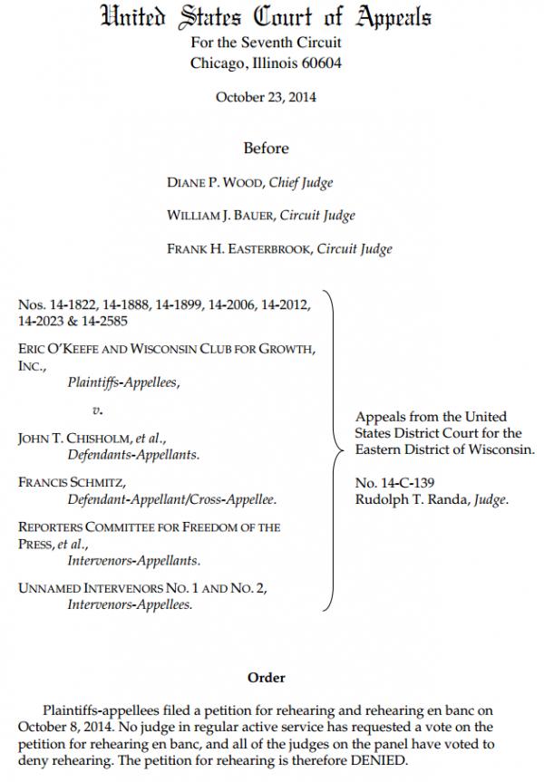 Wisconsin John Doe 7th Circuit Order Denying Rehearing 10-23-2014