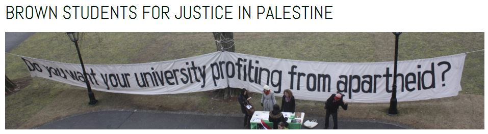Brown Students for Justice in Palestine banner