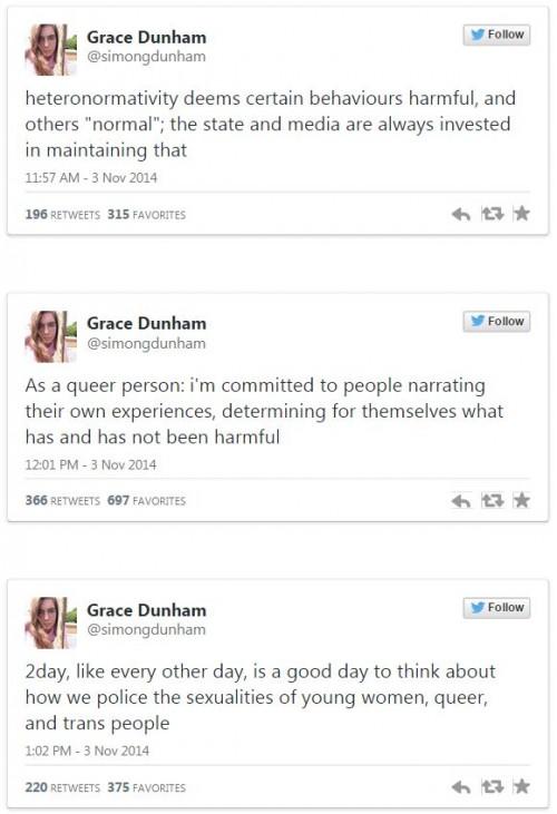 Grace Dunham Tweets re Lena Dunham