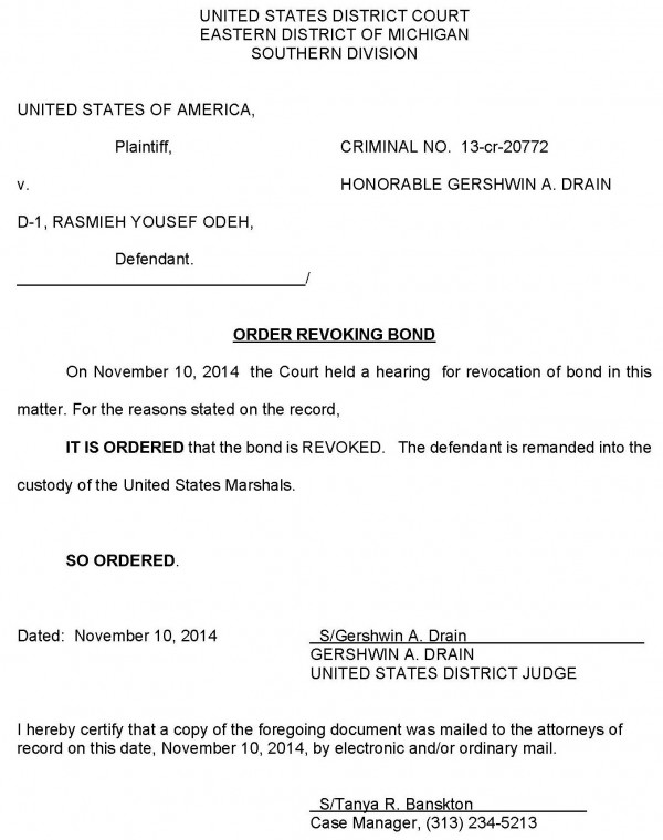 Rasmieh Odeh Case - Order Revoking Bond