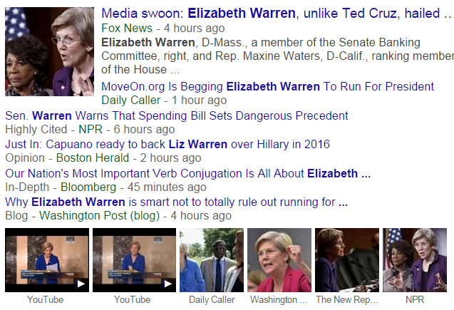 Elizabeth Warren Google News Search 12-15-2014