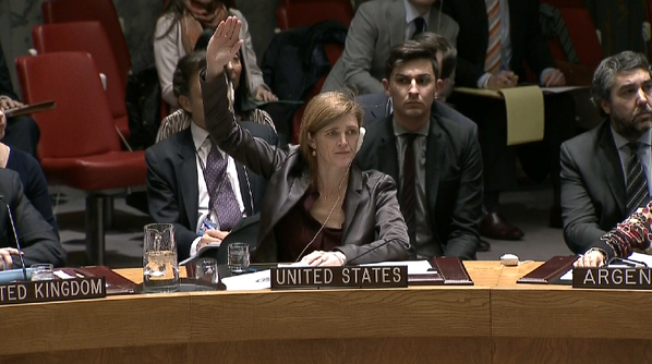 Samantha Power US votes No Palestinian Statehood