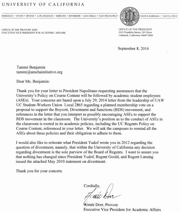 U California Regents Policy Letter September 8 2014