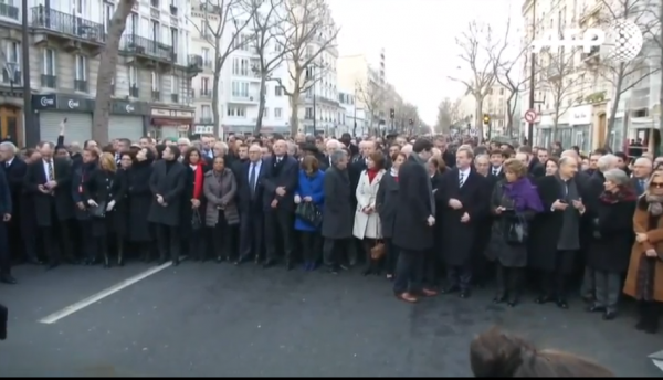 Paris National Unity Rally leaders lined up