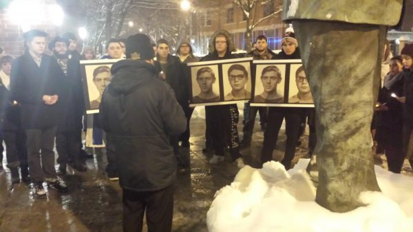 Rasmea Odeh Protest Vigil DePaul 2-3-2015 Students Holding Photos Statue