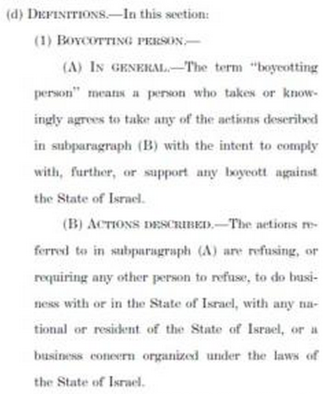 Boycott Our Enemies, Not Israel Act  BDS Definition Person