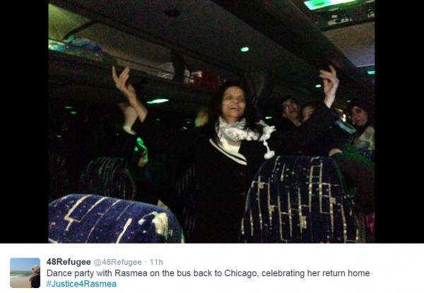 Rasmea Odeh Dancing Bus after Sentencing