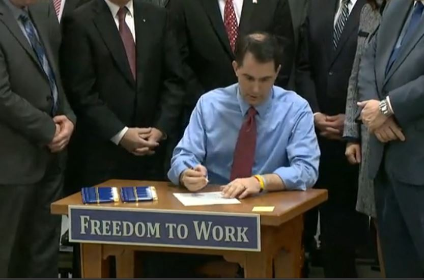 Scott Walker Right to Work Signing