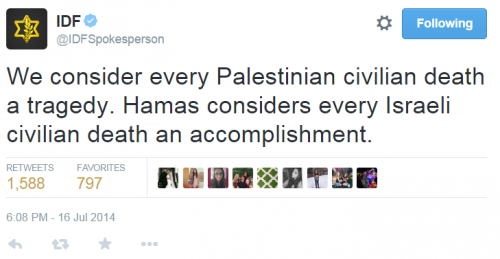 IDF TWitter Gaza Four Boys Civilian Deaths Sorrow July 16, 2014