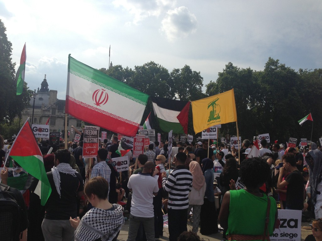 London anti-Israel protest 7-26-2017 Hezbollah Iran Flags