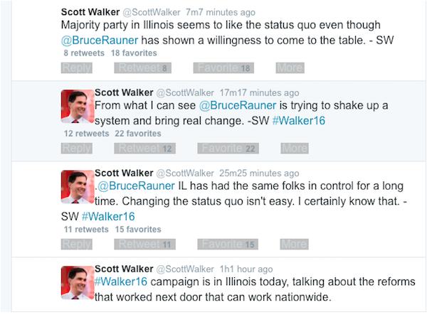 scott walker rauner tweets