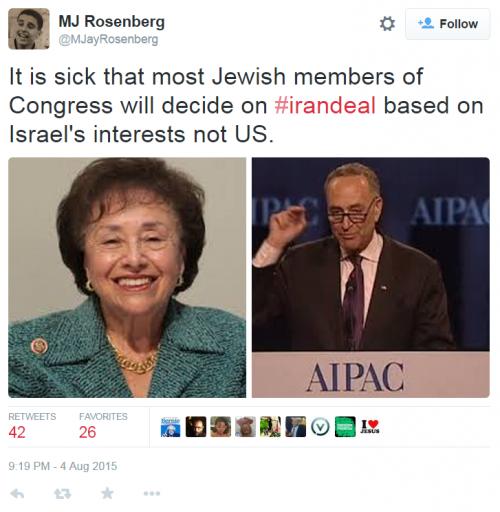 MJ Rosenberg Twitter Schumer Israel Iterests